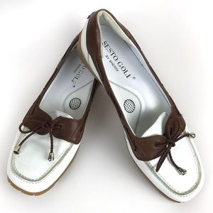 Sesto Italian Golf Shoes Loafers Brown White 8M